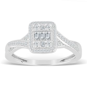 9ct White Gold 1/4ct Diamond Rectangle Cluster Ring - Product number 4389573