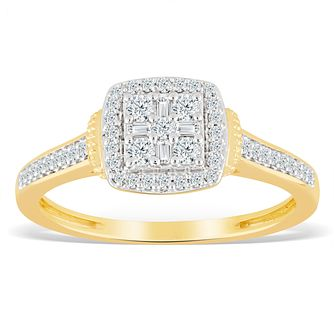 9ct Yellow Gold 1/4ct Diamond Cushion Cluster Ring - Product number 4389840