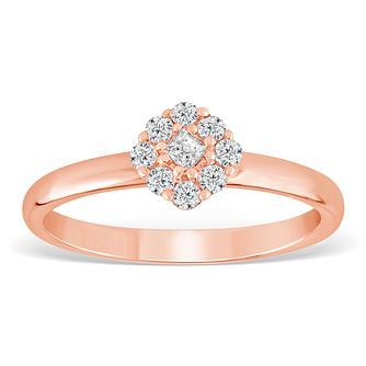9ct Rose Gold 1/5ct Diamond Cushion Cluster Ring - Product number 4390091