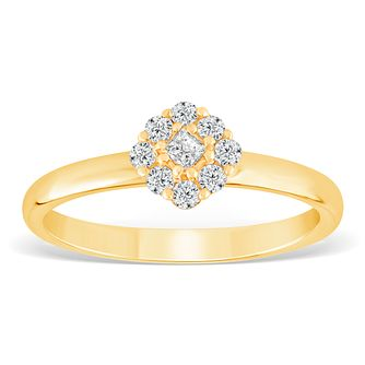 9ct Yellow Gold 1/5ct Diamond Cushion Cluster Ring - Product number 4390229
