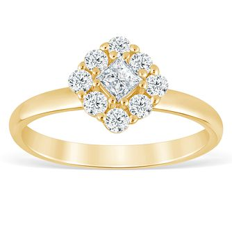 9ct Yellow Gold 1/2ct Diamond Cushion Cluster Ring - Product number 4390490