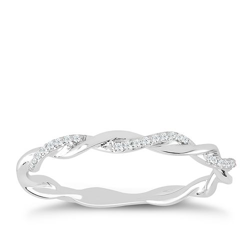 9ct White Gold & Diamond Twisted Eternity Ring - Product number 4390881