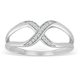 9ct White Gold & Diamond Crossover Wide Eternity Ring - Product number 4391020