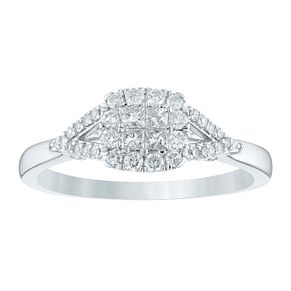 9ct White Gold 1/3ct Princessa Diamond Cluster Ring - Product number 4391810