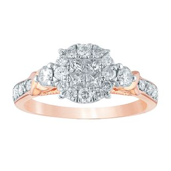9ct Rose Gold 2/3ct Princess Diamond Cluster Ring - Product number 4392604