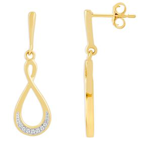 9ct Yellow Gold & Diamond Twisted Drop Earrings - Product number 4392876