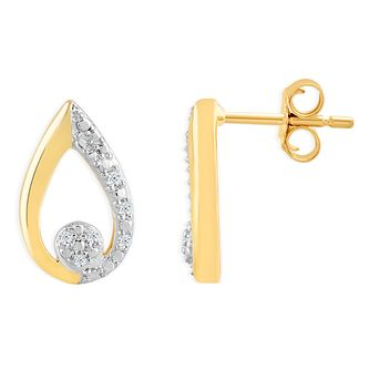 9ct Yellow Gold & Diamond Pear-Shaped Stud Earrings - Product number 4392884