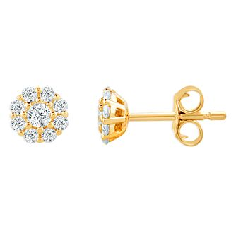 9ct Yellow Gold 1/5ct Diamond Flower Cluster Stud Earrings - Product number 4393171