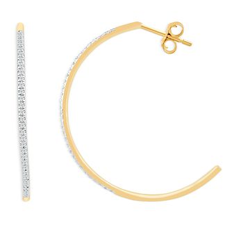 9ct Yellow Gold 1/10ct Diamond Half Hoop Earrings - Product number 4393252