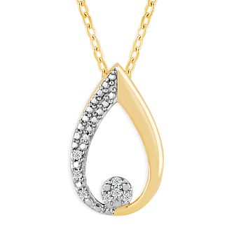 9ct Yellow Gold & Diamond Pear-Shaped Pendant - Product number 4393279