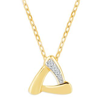 9ct Yellow Gold & Diamond Triangle Pendant - Product number 4393287