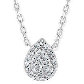 Sterling Silver & Diamond Pear-Shaped Pendant - Product number 4393589
