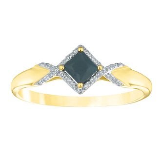 9ct Yellow Gold Square Sapphire & Diamond Ring - Product number 4394399