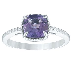 Sterling Silver Amethyst & Diamond Cushion-Shaped Ring - Product number 4394623