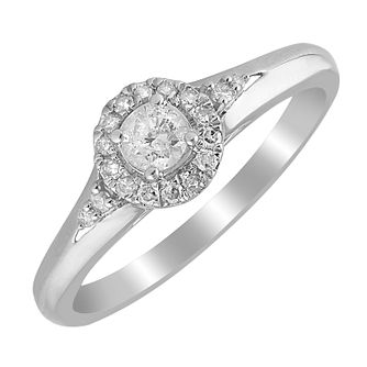 9ct White Gold 1/4ct Diamond Halo Ring - Product number 4396154