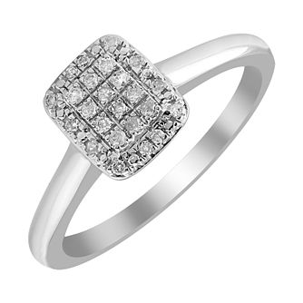 9ct White Gold 1/10ct Diamond Rectangle Cluster Ring - Product number 4396464