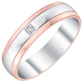 Men's Sterling Silver & 9ct Rose Gold Diamond Set Band - Product number 4397479