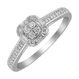 9ct White Gold 1/4ct Diamond Cushion Cluster Ring - Product number 4397592
