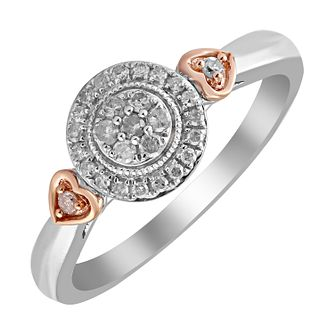 Silver & 9ct Rose Gold Diamond Cluster Heart Detail Ring - Product number 4397991