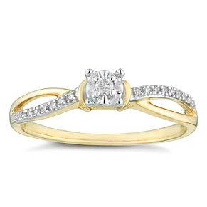 9ct Yellow Gold & Diamond Solitaire Ring - Product number 4402170
