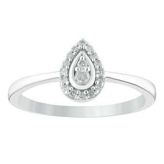 Sterling Silver 1/10ct Diamond Pear-Shaped Cluster Ring - Product number 4402863