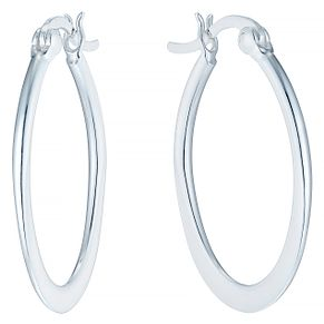 Sterling Silver Plain Oval Flat Creole Earrings - Product number 4403045