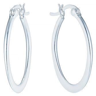 Sterling Silver Plain Oval Flat Hoop Earrings - Product number 4403045