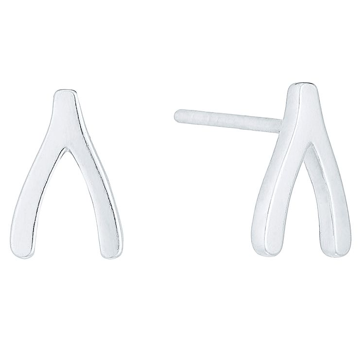 Sterling Silver Wishbone Stud Earrings - Product number 4403096