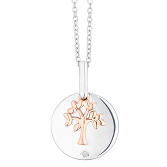 Sterling Silver & 9ct Rose Gold Diamond Family Pendant - Product number 4403541
