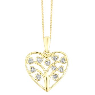 9ct Yellow Gold & Diamond Tree of Life Design Heart Pendant - Product number 4403576