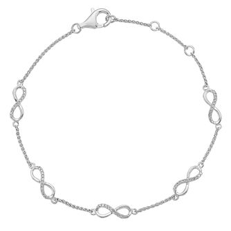 Sterling Silver 1/10ct Diamond Infinity Station Bracelet - Product number 4403592