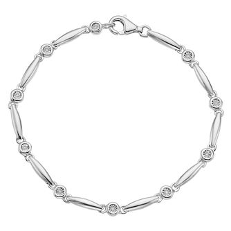 Sterling Silver Diamond Station Bracelet - Product number 4403614