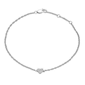 Sterling Silver Diamond Heart Single Station Bracelet - Product number 4403622
