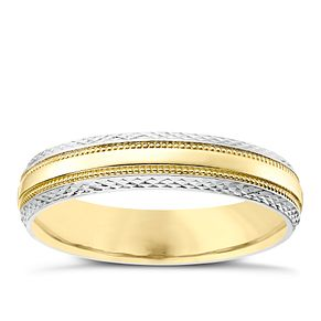 Ladies' 9ct Gold & White Gold Patterned Edge Band - Product number 4405307