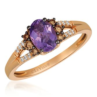 14ct Strawberry Gold Amethyst & Coloured Diamond Ring - Product number 4407695