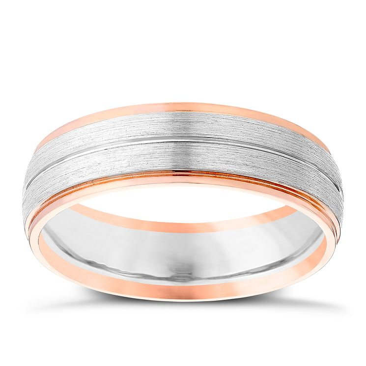 Men's Palladium 500 & 9ct Rose Gold Band - Product number 4407733