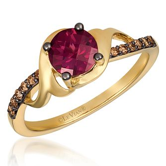 14ct Honey Gold Raspberry Rhodolite & Chocolate Diamond Ring - Product number 4409299