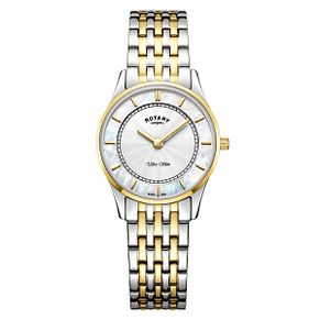 Rotary Ultra Slim Ladies' Two Tone Steel Bracelet Watch - Product number 4410092