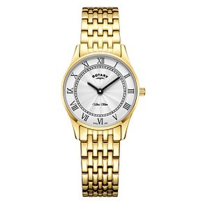 Rotary Ultra Slim Ladies' Gold Plated Bracelet Watch - Product number 4410106