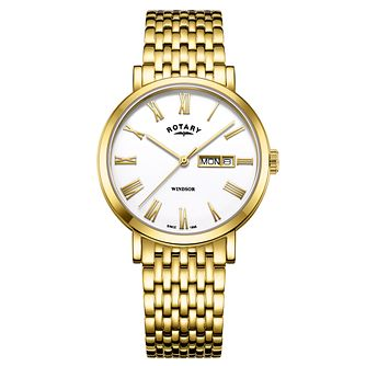 Rotary Windsor Men's Yellow Gold Tone Bracelet Watch - Product number 4410149