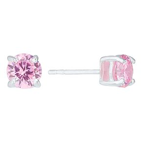 Sterling Silver Pink Cubic Zirconia Stud Earrings - Product number 4410440