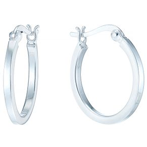 Sterling Silver Medium Flat Creole Earrings - Product number 4410483