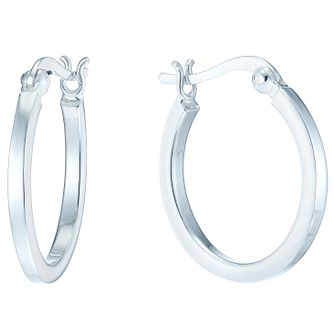 Sterling Silver Medium Flat Hoop Earrings - Product number 4410483