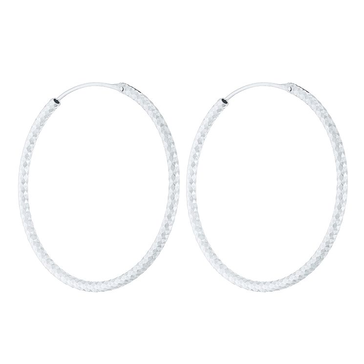 Sterling Silver Diamond Cut 40mm Large Hoop Earrings - Product number 4410491