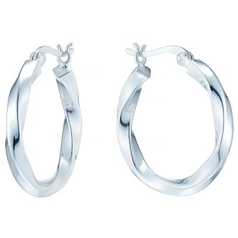 Sterling Silver Twist Medium Hoop Earrings - Product number 4410505