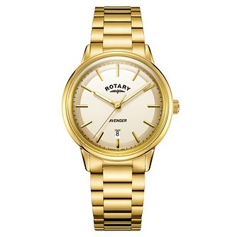Rotary Avenger Men's Gold Plated Steel Bracelet Watch - Product number 4410688