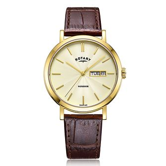 Rotary Exclusive Windsor Men's Brown Leather Strap Watch - Product number 4411374