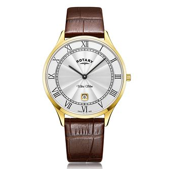 Rotary Exclusive Ultra Slim Men's Brown Leather Strap Watch - Product number 4412095