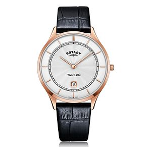 Rotary Exclusive Ultra Slim Men's Black Leather Strap Watch - Product number 4412893