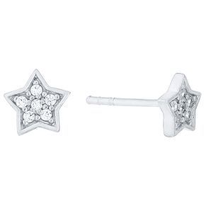 Sterling Silver Cubic Zirconia Set Star Stud Earrings - Product number 4413628